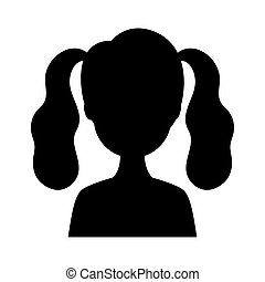 シルエット, 女, 特徴, 若い, avatar