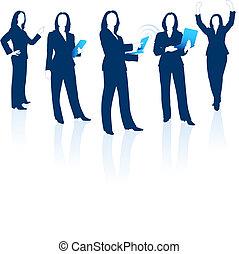シルエット, 女, 若い, ビジネス