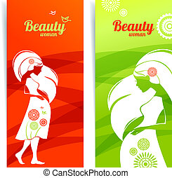シルエット, 妊娠した, デザイン, テンプレート, カード, 旗, woman.
