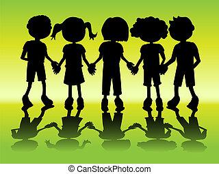 シルエット, 子供, 手を持つ