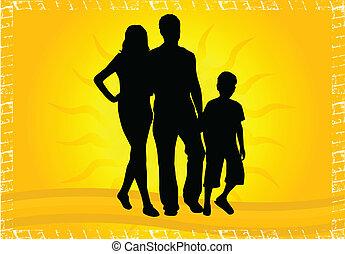 シルエット, 子供, 親