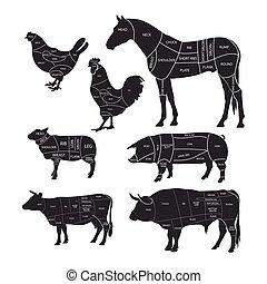 シルエット, 子羊, 肉, 切口, 切断, 馬, illustration., 図, ポーク, ベクトル, 牛肉, chicken., 動物, lines., ガイド, モノクローム, meat.