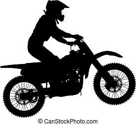 シルエット, 実行, トリック, オートバイ, 背景, 白, ライダー