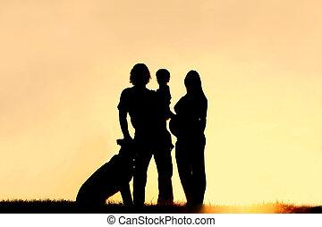 シルエット, 家族, 妊娠した, 犬, 日没, 母