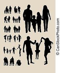 シルエット, 家族, 幸せ