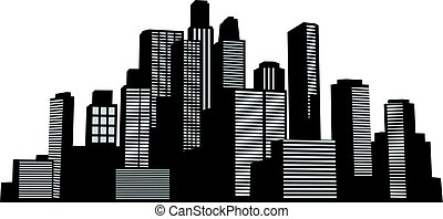 シルエット, 建物, ベクトル, 黒, 都市の景観