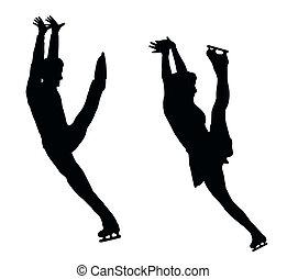 シルエット, 恋人, 氷, 高く, スケーター, 蹴り