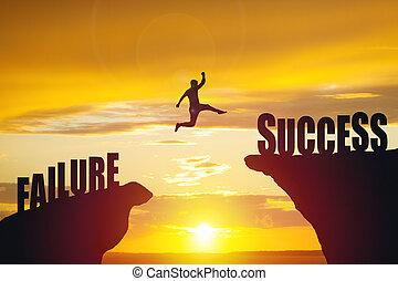 シルエット, 成功, ビジネス, テキスト, ジャンプ, 人