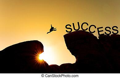 シルエット, 成功, ビジネス, 成功, concept., 挑戦, 跳躍, リーダーシップ, 絶壁, 上に, 達成, 人