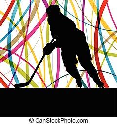 シルエット, 抽象的, 氷, プレーヤー, ベクトル, ホッケー, 背景, スポーツ