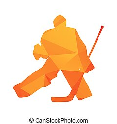 シルエット, 抽象的, 隔離された, 氷, polygonal, ベクトル, ホッケー, オレンジ, ゴールキーパー
