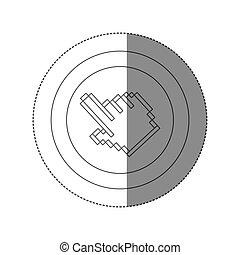シルエット, 指すこと, ステッカー, 手, pixelated, フレーム, 円
