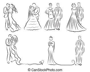 シルエット, 新婚者, スケッチ, セット, 図画, 花婿, イラスト, 手, 招待, 花嫁, ベクトル, 結婚式