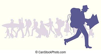 シルエット, 旅行者, バックパック, map., 見る, 動くこと, 多様, 背景, グループ, 人