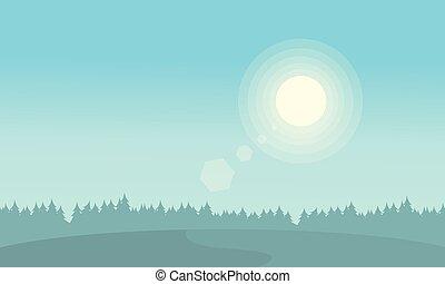 シルエット, 日の出, 風景, 丘