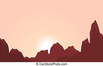 シルエット, 日の出, 風景, 崖