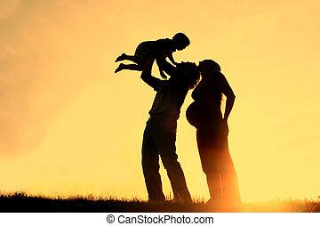 シルエット, 日没, 家族