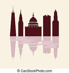 シルエット, 有名, 建物, 現代, usa.