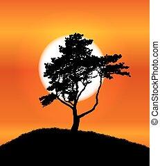 シルエット, 木, イラスト, バックグラウンド。, ベクトル, 日没