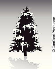 シルエット, 木, 雪, 黒, カバーされた, クリスマス