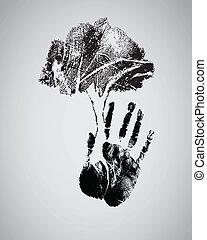 シルエット, 木, handprint, 黒