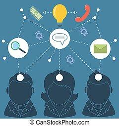 シルエット, 概念, チームワーク, ビジネス 人々