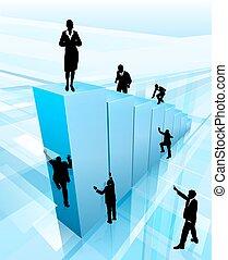 シルエット, 概念, 成功, ビジネス 人々