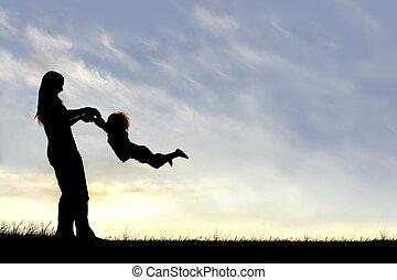 シルエット, 母, 外, 日没, 子が遊ぶ