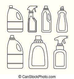 シルエット, 清掃, 項目, びん, 白い背景, セット, 洗濯物