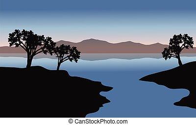 シルエット, 湖, 木