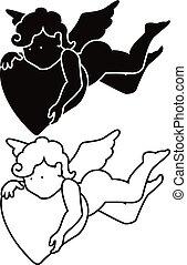 シルエット, 漫画, 天使, アウトライン