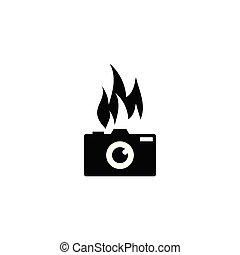 シルエット, 火, カメラ, 写真撮影, レンズ, ベクトル, デザイン, テンプレート, ロゴ, 炎