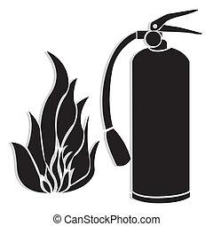 シルエット, 火 消火器, 火炎信号