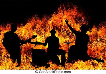 シルエット, 炎, 上に, 燃え上がる, バンド, 岩