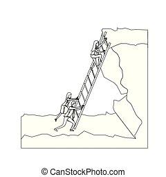 シルエット, 点を打たれた, ビジネス 人々, 上, 岩, モノクローム, 上昇, つらい, 階段, 風景