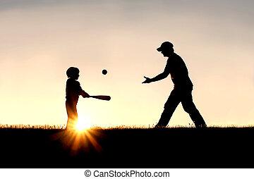 シルエット, 父, 息子, 外, 野球, 遊び