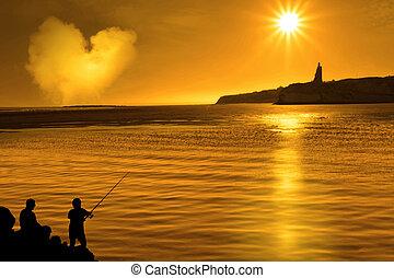 シルエット, 父, 息子, 釣り, アイルランド, 情事