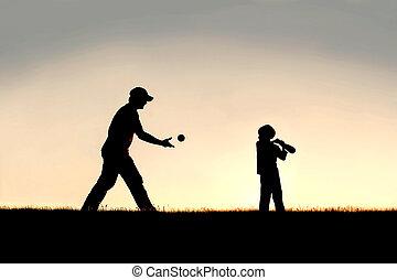 シルエット, 父, 若い, 外, 野球, 子が遊ぶ