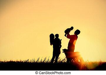 シルエット, 犬, 家族, 幸せ