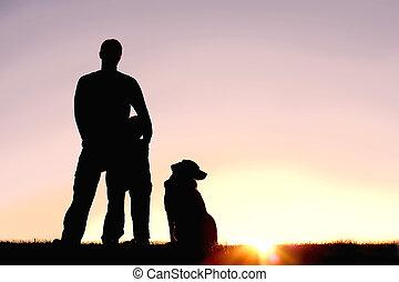 シルエット, 犬, 日没, 父, 前部, 息子