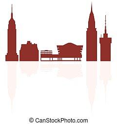 シルエット, 現代, 建物, usa.