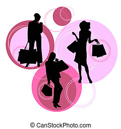 シルエット, 現代, 買い物, 女性