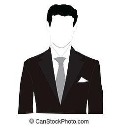 シルエット, 男性, 中に, 黒いスーツ