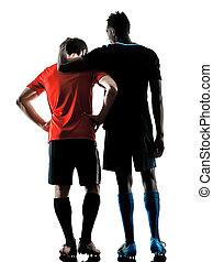 シルエット, 男性, 隔離された, プレーヤー, 背景, 白, サッカー