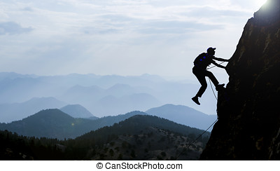 シルエット, 登山家, 岩