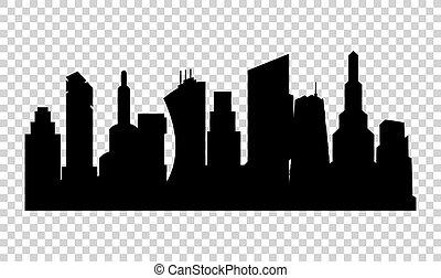 シルエット, 白, 平ら, ベクトル, 都市, 都市, バックグラウンド。, 景色。, 現代, スタイル, イラスト