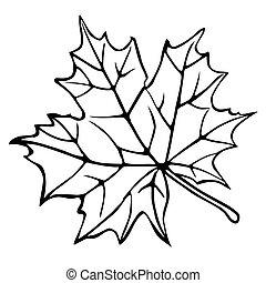 シルエット, 白, 葉, かえで, 背景