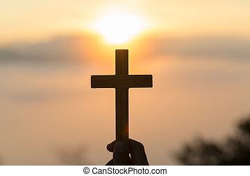シルエット, 祈ること, 宗教, 手, 若い, 交差点, 人間, キリスト教徒, 概念, 日の出, バックグラウンド。
