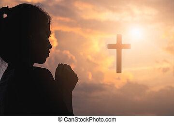 シルエット, 祈ること, 宗教, 若い, 交差点, 女, キリスト教徒, 概念, 日の出, バックグラウンド。