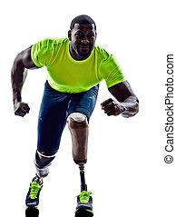 シルエット, 筋肉, 1(人・つ), ハンディキャップを付けられる, 義足, 背景, 線, 足, 始める, 白, 人